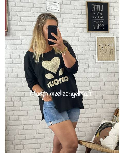 PULL AMOUR EN MAILLE - MOUTARDE