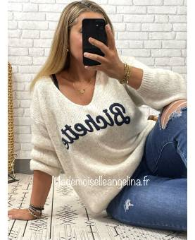 PULL AMOUR EN MAILLE - BEIGE